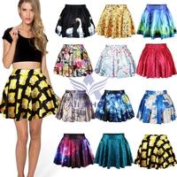 15Color 2014 New Summer Ball Gown Skirts Womens Fashion Sexy Stylish Pattern Print Elastic Waist Short Skater Mini Skirts 04588