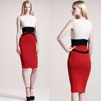 New Fashion Women Dress Color Block Bodycon Sleeveless Elegant Midi One-piece Dress