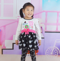 2014 New Peppa Pig Baby Girl Dress for Spring Autumn Kids Clothes Dress Girl Cartoon Dresses  1pc Free shipping TNQ-1405