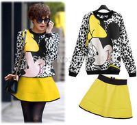 2014 European Style Women Cartoon Mickey Pattern O-Neck Sweatshirt Short Skirt Twinset Ladies Autumn Two Piece Skirt Suits ZY390