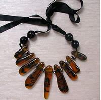 2014 Newest arrive marni brand women's Luxury amber color ribbon adjustment pendant necklace designer Statement necklace