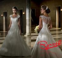 RBC 653 Hot Selling V Neck Wedding Dresses Beading Appliques Julie Vino Cap Sleeve Custom Made&Plus Size