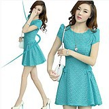 Summer new chiffon dress, women's fashion elegant slim hollow out of bud lace  short sleeve dress