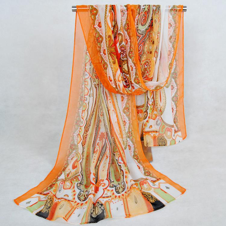 new 2014 spring and autumn women scarves silk feeling chiffon georgette long scarf shawl Bohemia scarf wraps(China (Mainland))