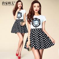 Fashion summer 2014 female vintage fashion doll embroidery top polka dot short Dress casual set