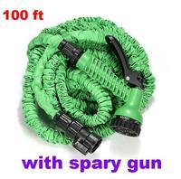 Free Shipping 100FT Hose with gun WATER GARDEN Pipe Green Water valve+ spray Gun With EU or US connector seen on TV