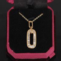 Fashion Gold Plated Zircon Crystal 0 Zero Shape Pendant Jewelery 37mm   63259