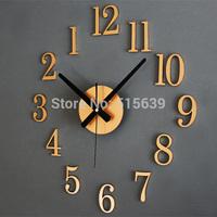 Metallic 3D DIY Wall Clock Watches Modern Design Classic Reversal Time Home Decor