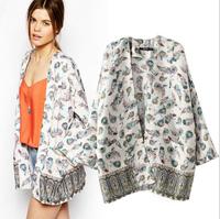 Women overall fashion loose chiffon printed kimono coat retail women floral kimono sun protection clothing summer dress poncho