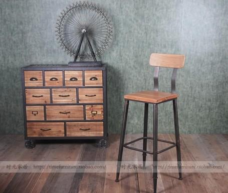american wild- era industrial mobiliário loft, ferro forjado cadeira do tamborete de barra tamborete feita de madeira velha bookshe superfície fezes bar(China (Mainland))