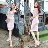 Korean version of the new spring and summer women's casual round neck striped  package hip dress