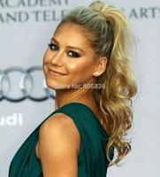 Clip in High long Blonde wavy brazilian virgin hair wrap around drawstring  ponytails