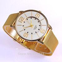 Luxury Women Golden Chain Wrist Watch Analog Quartz Big Dial Lady Classic Watch