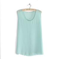 2014 European style large size women fat MM summer wild bottoming shirt sleeveless chiffon vest straps bottoming shirt