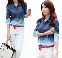 Women Spring 2014 Blusa Jeans Long Sleeve Fashion Jeans Shirt Women Blue Gradient Patchwork Shirt Tops For Women Denim Blouse