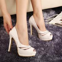 2014 summer open toe sandals women's high-heeled platform thin heels gauze cutout female shoes