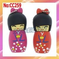 2014 New limited Plastic Cartoon Kokeshi Kimono Doll USB Flash Drive Stick Flash Memory PenDrive stock Free shipping #CC259