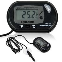 LCD Digital Fish Tank Aquarium Temperature Thermetemor Water Terrarium Black TK0215
