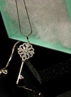 925 silver Snowflake Key Necklace Micro inlay zircon