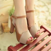 Summer open toe sandals thick heel high-heeled shoes women's hasp women's platform sandals women's shoes gentlewomen shoes