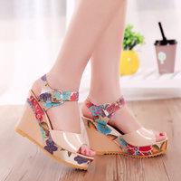 2014 open toe sandals women's wedges high-heeled shoes princess platform women's platform shoes