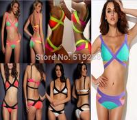 Top Quality 2014 Fashion Bikinis Women's Sexy Triangle Bikini Push Up Swimsuit Set Assorted Colors Bandage  Beach Swimwear