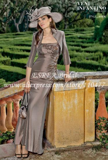 High Quality Vintage Applique Taffeta Sheath Petite Mother of the Bride Gowns with Bolero XG227(China (Mainland))