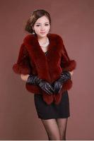 Warm Cloak Luxury Fox Fur Collar Overcoats Ladies Imitation Mink Fur Outerwear New Jacket Women's Fur Shawl Coat  Plus Size A887