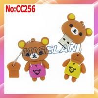 2014 New Sale Plastic Cartoon Rilakkuma Bear USB flash Memory Drive Stick Flash PenDrive Card stock Free shipping 2 color #CC256