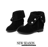 Free shipping over knee natrual real genuine leather flat boots women snow warm boot shoes CooLcept R1494 EUR  190