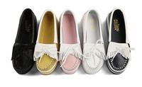 5cm High Flat Platform Shoes Fashion Tassel Women's Round Toe Cenuine Leather