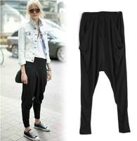 2014 Spring Fall Fashion Women's Black Loose Harem Pants High Waist Pencil Pants Casual Hip Hop Pants Stretch Street Trousers