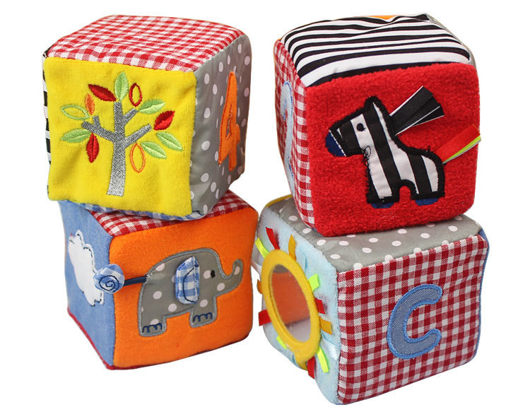4 pcs/set Sunny Safari soft play cubes baby education toys with rattle gifts for newborn brand plush product activity soft toy(China (Mainland))