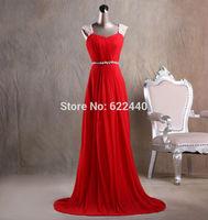 2014 New Arrival Custom-Made Spaghetti Straps Chiffon Beaded Sash Long Prom Dress