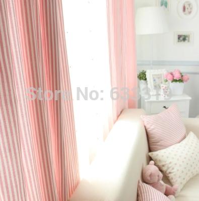 Grátis frete rosa listra estilo coreano doce e amável cortinas de sombreamento sala de estudo cortinas de pano(China (Mainland))