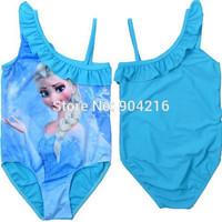Hot Movie Frozen Queen Elsa Girls Swimwear Swimsuit Swimming Costume Bathing Suit 2-10Y