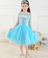2014 fashion  girls frozen elsa & anna princess dresses children gauze long sleeve one piece kids summer clothing