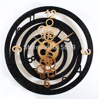 Fashion Creative Metallic Europea Gear Wall Clock Rotation Time Retro Watches Clocks Black & Gold Free Post