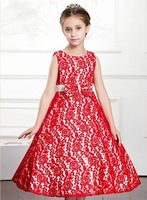 Free shipping 2014 new Girls Dress Princess dress children's wear Party veil Big bow girl wedding flower Baby girls dress Red