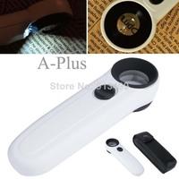 2014 New Arrival Mini Illuminated Loupe 40X25mm Led Light Magnifying Glass Magnifier White Jeweller b014 SV002663