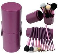 2015 12pcs/set Pro Cosmetic Makeup Brush Set Make up Tool + Leather Cup Holder Kits Purple #002