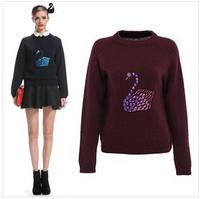 Sweaters 2014 Women Fashion Swan Handmade Diamond Beaded Pullover Sweater Bottoming Casual Dress  YJZ024
