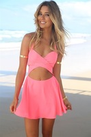 women summer dress 2014 party dresses vestidos casual winter cocktail Sleeveless halter strap sexy miniskirt dress