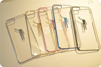 2014 new  Arrival hot sell PC Novelty robot transparent mobile phone case for iphone 5 5C 5S decent fashion DIY phone cover bag