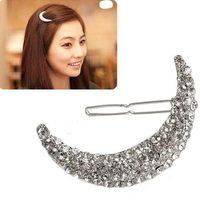 1pc Charming Crystal Rhinestone Diamante Moon Hair Clip Headdress Hairpin Clamp