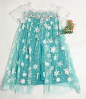 New Retail 3-10yrs Girls' Frozen Dress kid's 2014 cartoon summer dress girl's tutu princess dress lovable clothing
