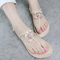 Summer women sandal fashion Design Rhinestone flip flops Comfortable flat shoes