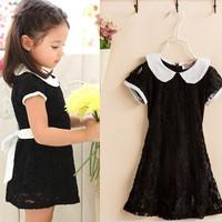 100-140 children girl kids black lace infant dress for girls party wedding dresses