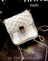 2014 quality ladies silver summer bag   cover type plaid  bag