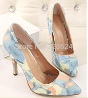 2014 New Spring Women Sexy High Heels Flowers Printing Pointed Toe Pumps Free Shipping Women Pumps platform designer pumps